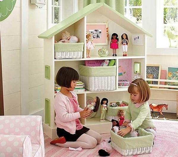 Стеллаж для игрушек в детскую для девочки