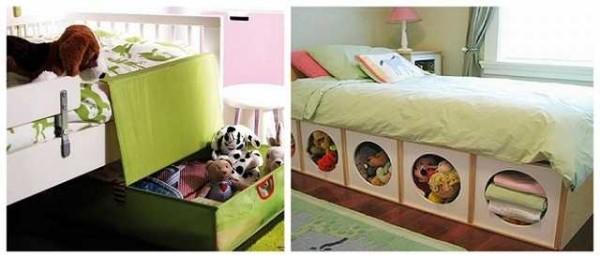 Ящики под кроватью - места не занимают, а спрятать туда можно уже надоевшие игрушки