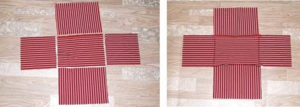 Вырезаем из ткани двойной комплект заготовок и сшиваем их