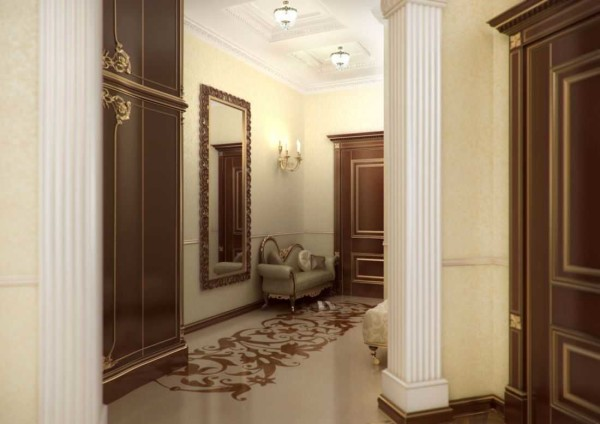 Полы в классическом дизайне квартиры тоже классические - художественный паркет или мрамор, как вариант - заливные полы