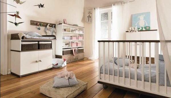 Комната для новорожденного мальчика в нежно-голубых тонах