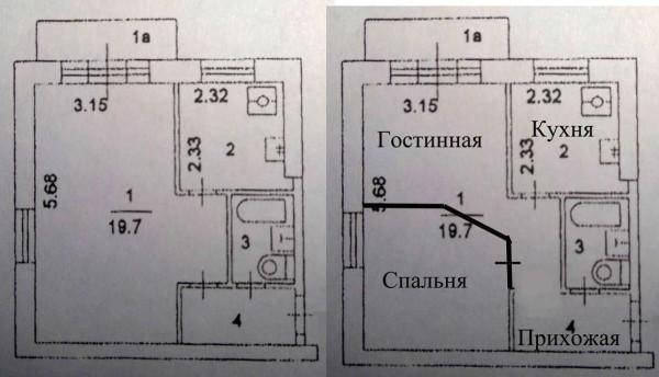 Пример переделки однокомнатной квартиры в двухкомнатную
