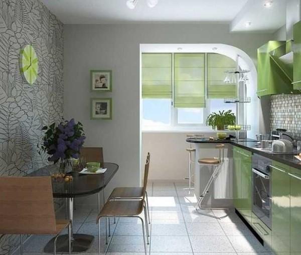 Присоединение лоджии к кухне позволяет разгрузить основную площадь