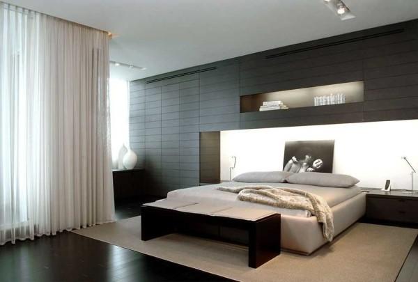 Для спальни в стиле хай-тек однозначно нужен однотонный тюль