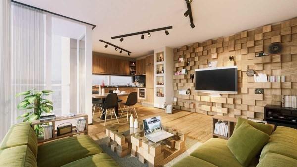 Объемная деревянная стена - стильный декор