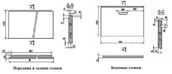 Боковые и фронтальные (задняя и передняя) стенки улья