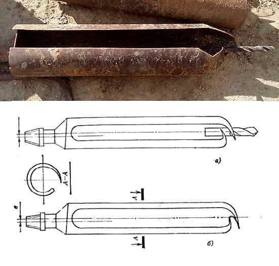 Бур-ложка для вязкого грунта