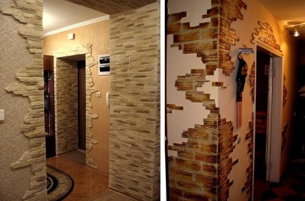 Отделка прихожей декоративным камнем - это часто отделка углов и дверных проемов