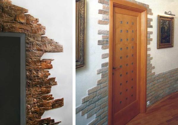Два варианта отделки двери искусственным камнем