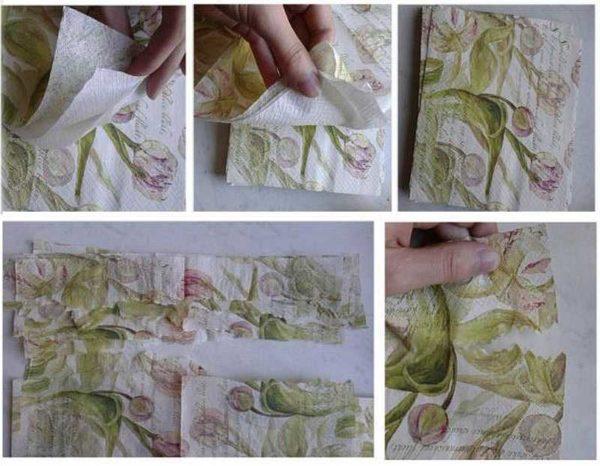 Отделяем верхний слой салфеток с рисунком, разрываем вдоль на две части