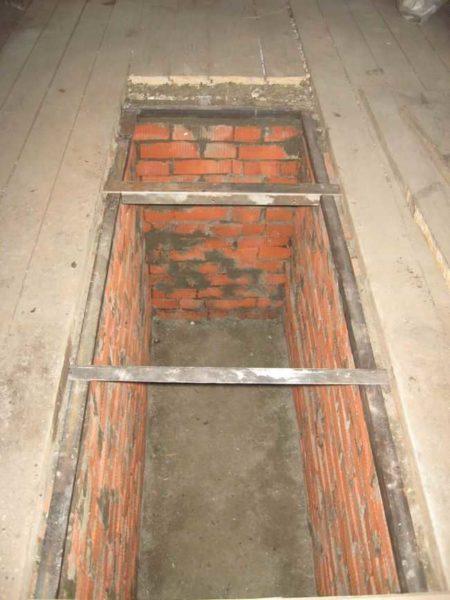 Кирпичная смотровая яма в гараже