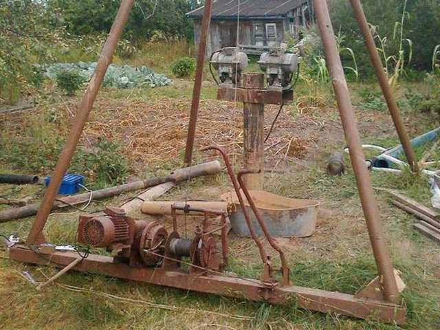 Канатно-ударная буровая установка, сделанная своими руками