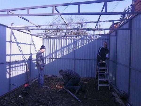 Пример ферм для формирования односкатной крыши гаража