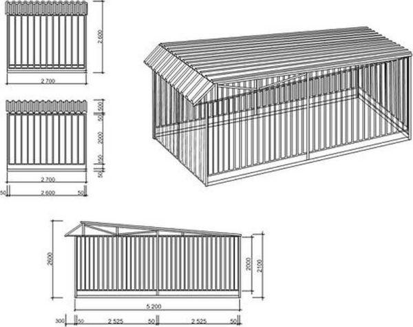 Чертеж и размеры гаражи из профнастила на одну машину