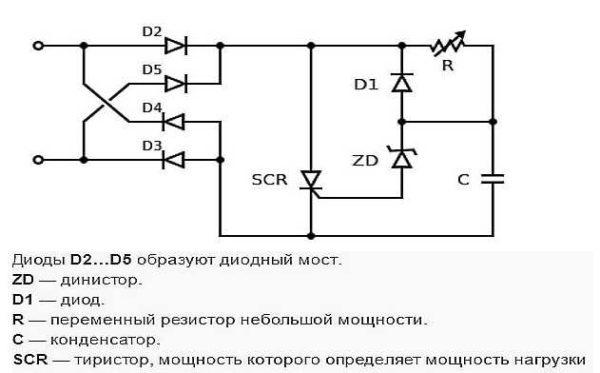 Схема тиристорного диммера