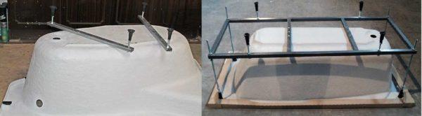 Варианты комплектации акриловых ванн - ножки и каркас
