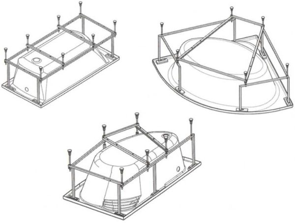 Пример каркасов для акриловых ванн разной формы