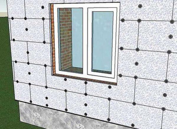 Схема расположения грибков при утеплении фасада пенопластом