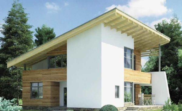 Двухэтажный дом с террасами на двух этажах