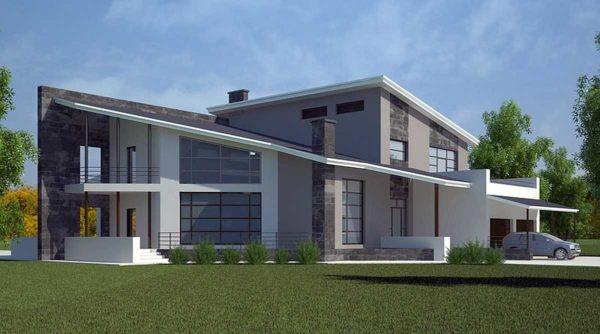Один из проектов домов с односкатной крышей