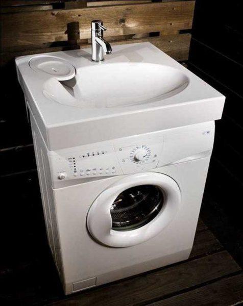 Чтобы поставить стиральную машину под мойкой нужна специальная раковина