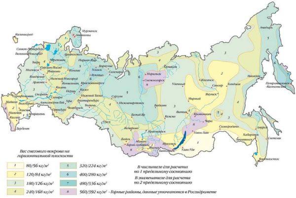 Карта снеговых нагрузок РФ