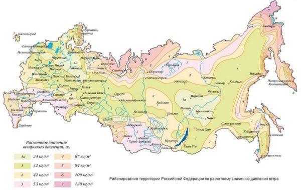 Карта ветровых нагрузок РФ
