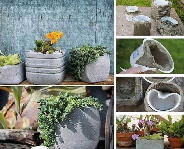Использовать для изготовления вазона из бетона можно любую емкость
