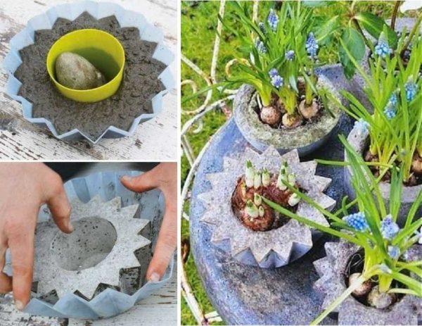 Бетонные вазоны для цветов из пластиковых форм