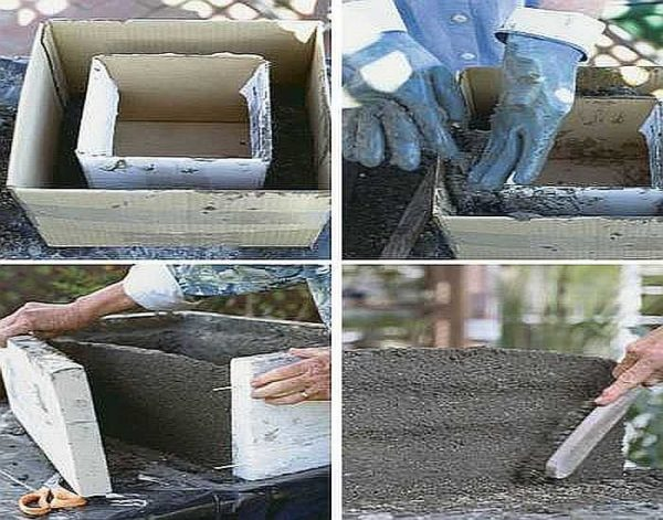 Как сделать своими руками цветочный уличный вазон из бетона