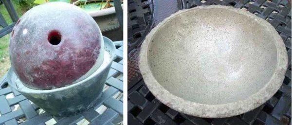 Металлическая чаша и шар для боулинга - получается отличный цветочный вазон