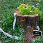 Оформить уличный садовый вазон как домик для фей