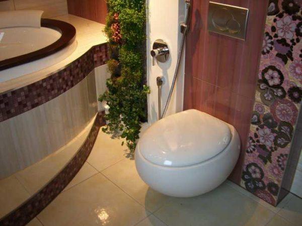 На стене - гигиенический душ для унитаза
