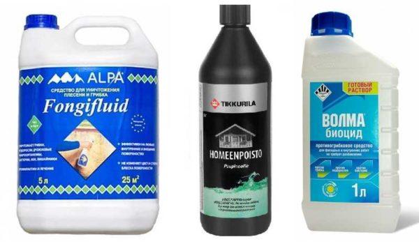 Некоторые средства, которыми можно пользоваться во время ремонта для избавления от грибка