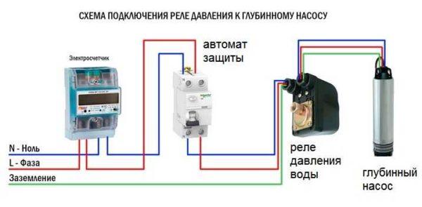 Схема подключения реле давления воды к щитку