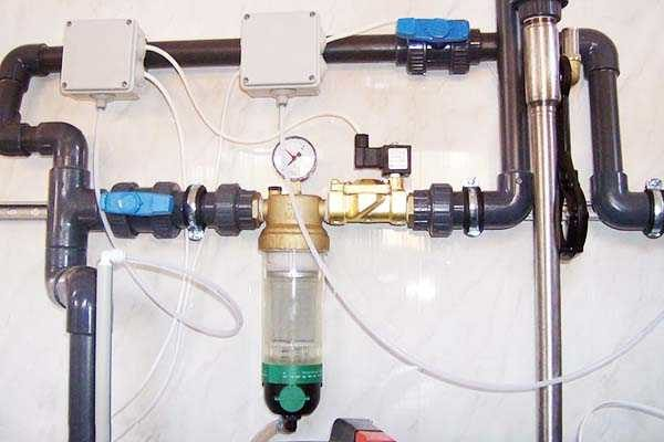 Пример установки механического фильтра с автоочищением