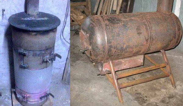 Буржуйку для гаража можно сделать из баллона или трубы с толстой стенкой