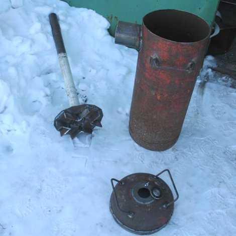 Детали самодельной печи длительного горения Бубафоня в разобранном состоянии