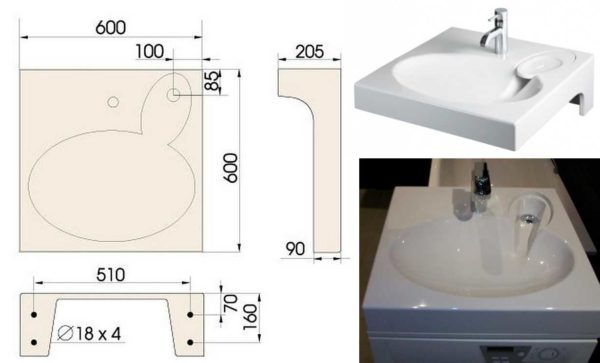 Раковина над стиральной машиной со сливом сбоку и сзади - PAA CLARO