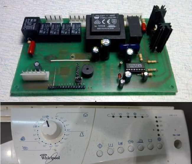 Блок управления стиральной машины состоит из панели и платы