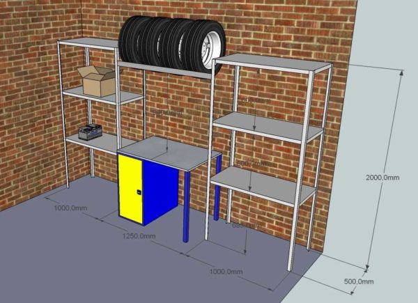 Стеллажи для гаража с верстаком удобны