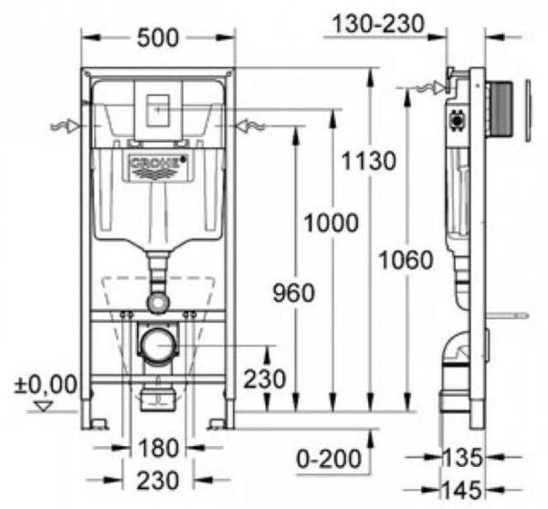 Размеры инсталляции Grohe Rapid Sl