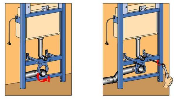 Подключение канализации к инсталляции унитаза