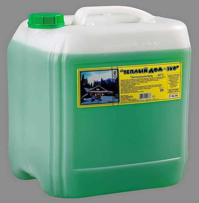 Пропилен-гликолевый теплоноситель безопасен , но стоит дороже и замерзает при более высоких темпеартурах