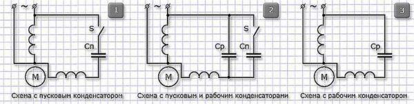Схемы подключения однофазного конденсаторного двигателя