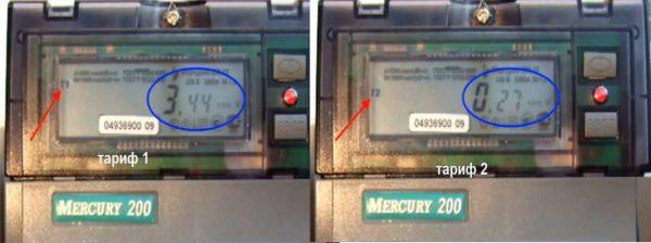 Показания двухтарифного счетчика Меркурий 200
