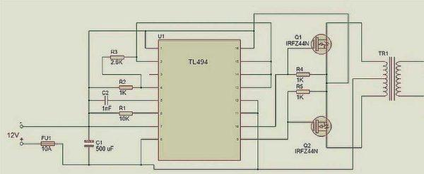 Преобразователь напряжения 12 220 В: схема преобразователя на основе ШИМ-контролллера