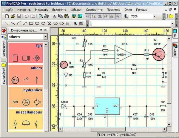 Пример использования ProfiCAD для рисования электрических схем