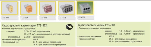 Типы монтажных клемм для электропроводки wago