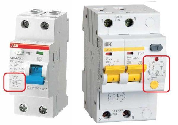Схема подключения дифавтомата обычно есть на корпусе